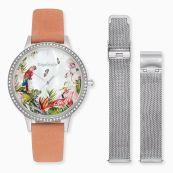 Set Uhr Paradise silber mit Zirkonia Nubukleder Koralle und Wechselband Meshband silber